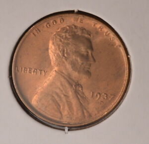 1937D USA WHEAT CENT   UNCIRCULATED   INV X 721