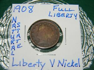 1908 LIBERTY V NICKEL W/CENTS VARIETY NICE DATE US TYPE COIN {113 YEARS OLD}