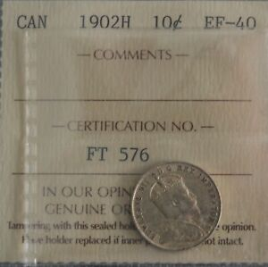 1902 H CANADA TEN CENTS 1902H EF40 ICCS FREE SHIP ON SALE L