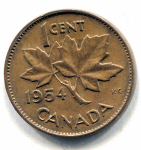 1954 CANADIAN MAPLE LEAF ONE CENT COIN   CANADA PENNY