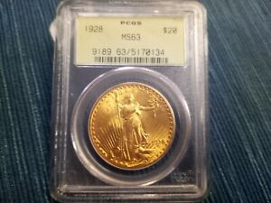 1928 US GOLD $20 ST GAUDENS DOUBLE EAGLE PCGS MS63 OLD GREEN HOLDER OGH