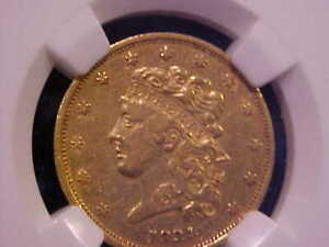 1834 PLAIN 4 CLASSIC HEAD $5 GOLD LIBERTY HALF EAGLE XF 45 NGC SLAB NLOPA