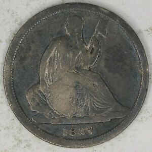 1837 SMALL DATE NO STARS SEATED LIBERTY DIME. FINE.   RAW4445/UB