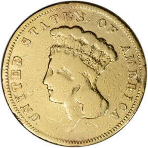 1856 S US GOLD $3 INDIAN PRINCESS HEAD   VF DETAILS CLEANED