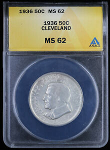 1936 CLEVELAND CENTENNIAL GREAT LAKES EXPOSITION HALF DOLLAR 50C ANACS MS62