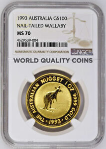 Click now to see the BUY IT NOW Price! AUSTRALIA 1993 GOLD $100 AUSTRALIAN NUGGET KANGAROO NAIL TAILED WALLABY NGC MS70