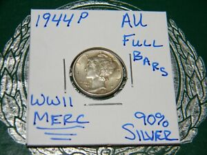 1944 P MERCURY DIME 90  SILVER    AU     U GRADE THE COIN SPLIT BARS