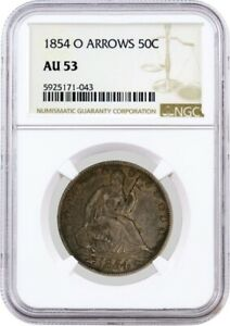 1854 O ARROWS 50C SEATED LIBERTY HALF DOLLAR SILVER NGC AU53 ABOUT UNCIRCULATED