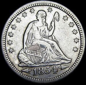 1854 SEATED LIBERTY QUARTER        NICE TYPE COIN       M448