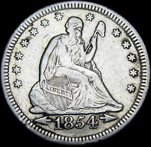 1854 SEATED LIBERTY QUARTER        NICE TYPE COIN       M449