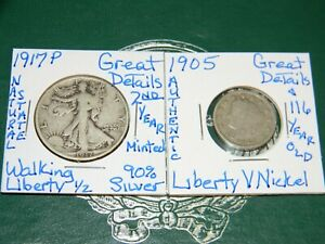 1917 P WALKING LIBERTY 90 SILVER HALF DOLLAR & 1905 LIBERTY{116 YRS OLD}V NICKEL