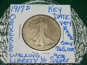 1917 D OBVERSE US 50C WALKING LIBERTY SILVER HALF DOLLAR COIN KEY DATE 765 000