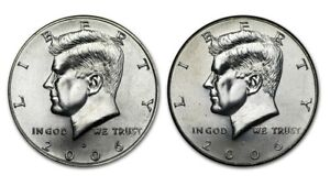 2006 P & 2006 D KENNEDY HALF DOLLAR COINS   UNCIRCULATED FROM MINT ROLL