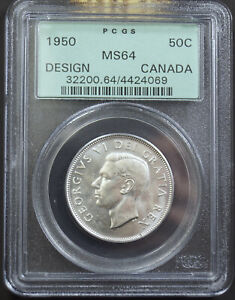 CANADA 1950 FIFTY CENTS DESIGN IN