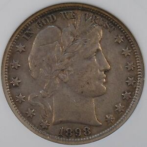 1898 BARBER HALF DOLLAR 50C ANACS CERTIFIED XF40 OLD SMALL HOLDER