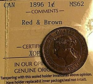 1896 CANADA VICTORIA LARGE CENT PENNY   ICCS MS 62   UNCIRCULATED RED BROWN