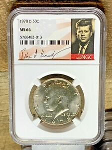 1978 D  KENNEDY NGC GRADED MS 66 SIGNATURE LABEL 83 013