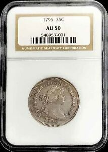 Click now to see the BUY IT NOW Price! 1796 UNITED STATES SILVER DRAPED BUST 25C QUARTER COIN NGC ABOUT UNCIRCULATED 50