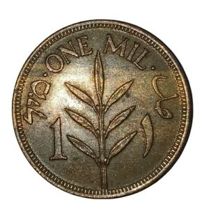 1927 PALESTINE BRONZE ONE MIL COIN  ALMOST UNCIRCULATED CONDITION.