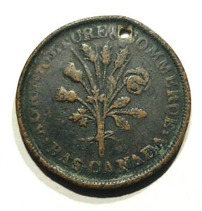 1835 38 LOWER CANADA BANK OF MONTREAL TRADE & AGRICULTURE UN SOUS TOKEN   HOLED