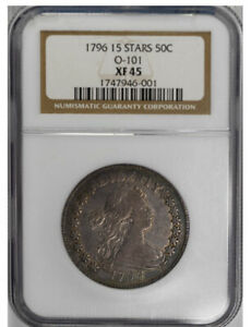 Click now to see the BUY IT NOW Price! 1796 50C O 101 15 STARS DRAPED BUST HALF DOLLAR NGC XF45 SILVER COIN