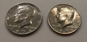 TWO 1974 KENNEDY HALF DOLLARS NO MINT CIRCULATED US CURRENCY  VINTAGE COIN