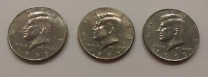 THREE COLLECTABLE 1995 KENNEDY HALF DOLLARS  CIRCULATED DENVER MINT  VINTAGE