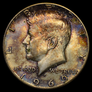 1969 D GEM UNCIRCULATED KENNEDY HALF DOLLAR   BLUEBERRY AND VIOLET TONING