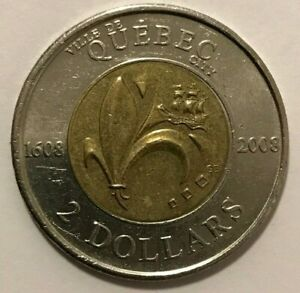 2008 CANADIAN $2 COIN QUEBEC'S