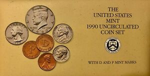 US MINT 1990 UNCIRCULATED 10 COIN SET WITH P&D MINT MARKS IN ORIGINAL PACKAGING