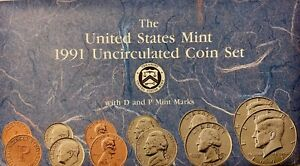 US MINT 1991 UNCIRCULATED 10 COIN SET WITH P&D MINT MARKS IN ORIGINAL PACKAGING