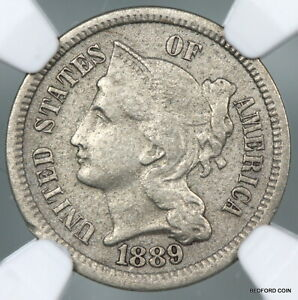BETTER DATE NGC XF DETAILS 1889 THREE CENT NICKEL 3CN    BC07