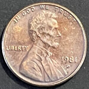 1981 D LINCOLN MEMORIAL CENT   AU WITH NICE DETAIL   TONED