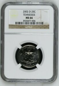 QUARTER DOLL QUARTER DOLLAR   STATE SERIES 2002 D NGC MS 66   TENNESSEE