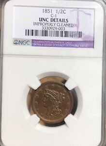 1851 1/2C BRAIDED HAIR HALF CENT NGC UNC   UNCIRCULATED C 1