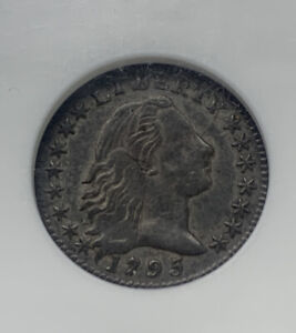 1795 H10C LM 8 FLOWING HAIR HALF DIME NGC ABOUT UNCIRCULATED 55