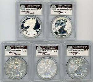 2011 ASE 5 COIN SET MS/PR70/SP70 PCGS 25TH ANNIVERSARY J MERCANTI ASE LABEL