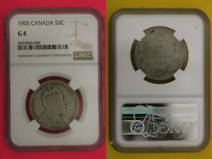 1905 CANADA HALF DOLLAR G 4 NGC CERTIFIED GRADED AUTHENTIC SLAB 50 CENTS OCE 51