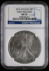2013 W BURNISHED AMERICAN SILVER EAGLE NGC MS 70 | EARLY RELEASES UNC BU