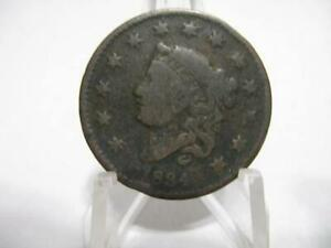 ROTATED DIE  1834 MATRON HEAD LARGE CENT FINE NMF1250