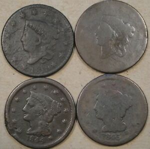 1819 ND 1820??  1844   1845 LARGE CENTS WITH ISSUES AS PICTURED