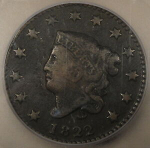 1822 CORONET LARGE CENT ICG F12 LOOKS VF TO ME