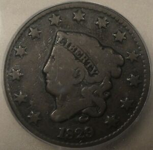 1829 CORONET LARGE CENT ICG F12 LOOKS VG TO ME