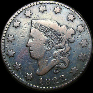 1822 CORONET HEAD LARGE CENT PENNY      NICE TYPE COIN      S509