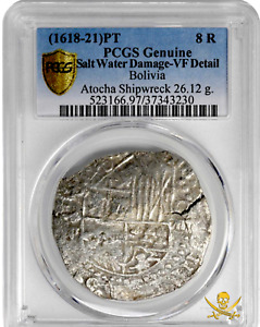 Click now to see the BUY IT NOW Price! ATOCHA 1622 GRADE 1 BOLIVIA 8 REALES  LOOT PCGS VF PIRATE GOLD COINS SILVER COB