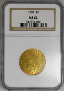 1808 $5 CAPPED HEAD BUST LEFT MS62 NGC OLD HOLDER PCGS PRICE 17K
