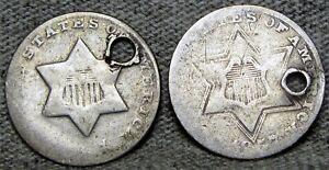 1851 AND 1857 SILVER THREE CENT PIECE 3CP     NICE DETAILS HOLED LOT       S727