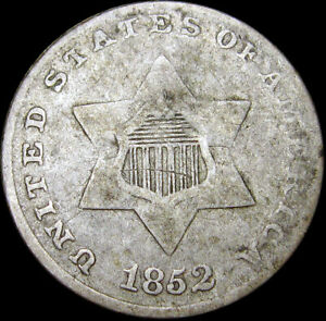 1852 SILVER THREE CENT PIECE 3CP     NICE DETAILS DAMAGED TYPE COIN      S741