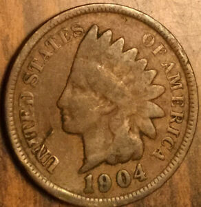 1904 UNITED STATES US INDIAN HEAD PENNY COIN SMALL CENT