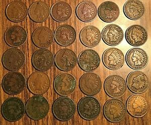 LOT OF 30 UNITED STATES US INDIAN HEAD PENNY COIN SMALL CENTS